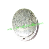 Silver Plated Brushed Beads, size: 23x16x7mm, weight: 3.09 grams.