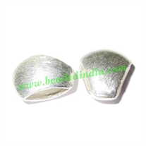 Silver Plated Brushed Beads, size: 12x14x6.5mm, weight: 1.21 grams.
