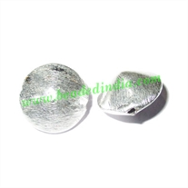 Silver Plated Brushed Beads, size: 14x9mm, weight: 1.82 grams.
