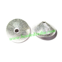 Silver Plated Brushed Beads, size: 16x10mm, weight: 3.17 grams.