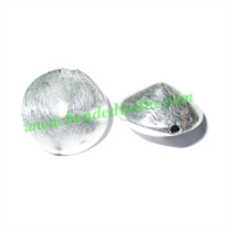Silver Plated Brushed Beads, size: 16x11mm, weight: 2.39 grams.
