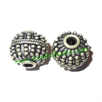 Silver Plated Fancy Beads, size: 13.5x14.5mm, weight: 3.78 grams.