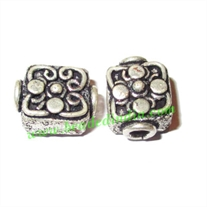 Silver Plated Fancy Beads, size: 13x10x8mm, weight: 2.43 grams.