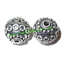 Silver Plated Fancy Beads, size: 17x18mm, weight: 6.02 grams.