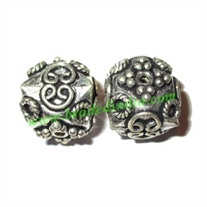 Silver Plated Fancy Beads, size: 14x14.5mm, weight: 3.59 grams.