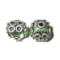 Silver Plated Fancy Beads, size: 12x12mm, weight: 2.73 grams.