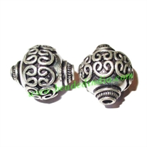Silver Plated Fancy Beads, size: 22x18mm, weight: 7.01 grams.