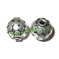 Silver Plated Fancy Beads, size: 13.5x14mm, weight: 3.16 grams.