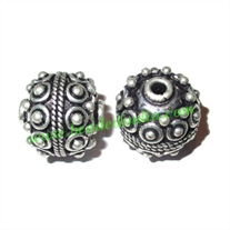 Silver Plated Fancy Beads, size: 14x15mm, weight: 5.35 grams.
