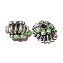 Silver Plated Fancy Beads, size: 9.5x13.5mm, weight: 3.22 grams.
