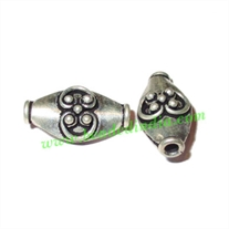 Silver Plated Fancy Beads, size: 17x9.5x7mm, weight: 1.67 grams.