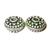 Silver Plated Fancy Beads, size: 7.5x14mm, weight: 3.87 grams.