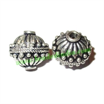 Silver Plated Fancy Beads, size: 14.5x13mm, weight: 3.01 grams.
