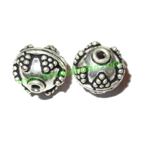 Silver Plated Fancy Beads, size: 12x12.5mm, weight: 2.88 grams.