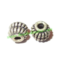 Silver Plated Fancy Beads, size: 6x6mm, weight: 0.72 grams.