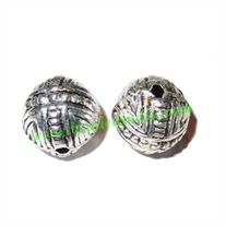 Silver Plated Fancy Beads, size: 14x14mm, weight: 1.86 grams.