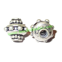 Silver Plated Fancy Beads, size: 14x13mm, weight: 4.04 grams.
