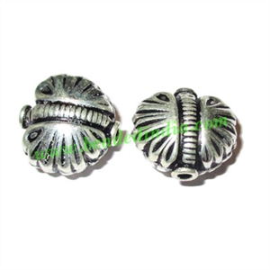 Silver Plated Fancy Beads, size: 18x19x12.5mm, weight: 2.77 grams.