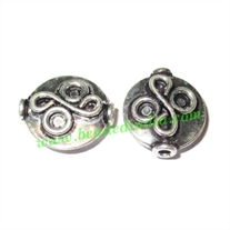 Silver Plated Fancy Beads, size: 13x12x4.5mm, weight: 1.51 grams.