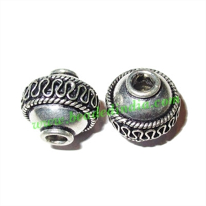 Silver Plated Fancy Beads, size: 15x14mm, weight: 3.1 grams.