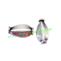 Silver Plated Fancy Beads, size: 13x7x3mm, weight: 0.59 grams.