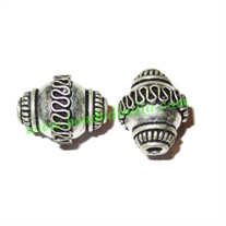 Silver Plated Fancy Beads, size: 18x14mm, weight: 3.78 grams.