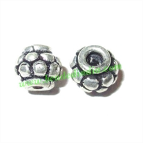 Silver Plated Fancy Beads, size: 6x5mm, weight: 0.68 grams.
