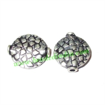 Silver Plated Fancy Beads, size: 16x14x3.5mm, weight: 1.38 grams.