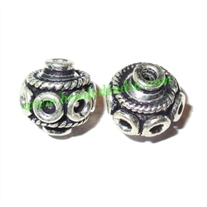 Silver Plated Fancy Beads, size: 11x11mm, weight: 2.05 grams.