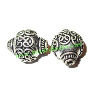 Silver Plated Fancy Beads, size: 22x18mm, weight: 6.66 grams.