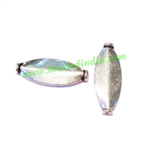 Silver Plated Fancy Beads, size: 20x7.5x3mm, weight: 0.91 grams.