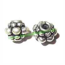 Silver Plated Fancy Beads, size: 7x5.5mm, weight: 0.85 grams.