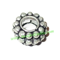 Silver Plated Fancy Beads, size: 6x13mm, weight: 3.21 grams.