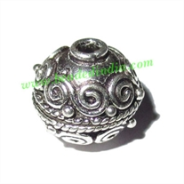 Silver Plated Fancy Beads, size: 13.5x13mm, weight: 3.19 grams.
