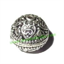 Silver Plated Fancy Beads, size: 14x14mm, weight: 3.73 grams.