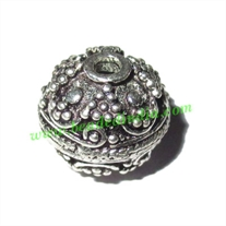 Silver Plated Fancy Beads, size: 12x12mm, weight: 3.06 grams.