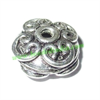 Silver Plated Fancy Beads, size: 7.5x13.5mm, weight: 2.51 grams.