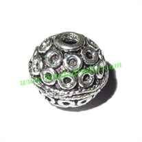 Silver Plated Fancy Beads, size: 11x11mm, weight: 1.92 grams.
