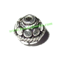 Silver Plated Fancy Beads, size: 9x9mm, weight: 1.15 grams.