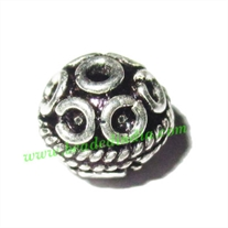 Silver Plated Fancy Beads, size: 7.5x8mm, weight: 0.79 grams.