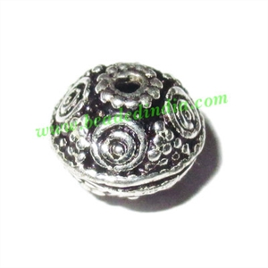 Silver Plated Fancy Beads, size: 7.5x9mm, weight: 1.12 grams.