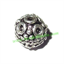 Silver Plated Fancy Beads, size: 8x9mm, weight: 1.54 grams.