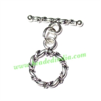 Silver Plated Toggle Clasps, size when expanded: 25.5x21x2mm, weight: 1.76 grams.