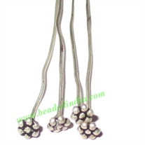 Sterling Silver .925 Headpin size: 0.5 inch (12.5 mm), head size : 3mm, weight: 0.13 grams.