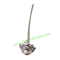 Silver Plated Headpin size: 2.5 inch (63 mm), head size : 8.5x5mm, weight: 1.15 grams.
