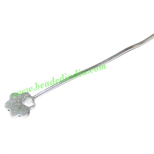 Silver Plated Headpin size: 1 inch (25 mm), head size : 6mm, weight: 0.28 grams.