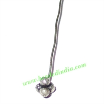 Silver Plated Headpin size: 2.5 inch (63 mm), head size : 4mm, weight: 0.35 grams.