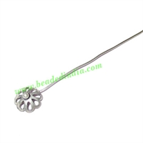 Silver Plated Headpin size: 3 inch (76 mm), head size : 5x10mm, weight: 0.76 grams.
