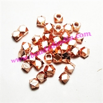 Solid brass metal copper plated beads, size: 3x5mm, weight: 2.98 grams.