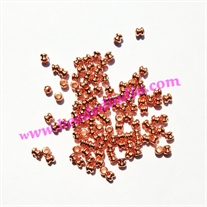 Solid brass metal copper plated beads, size: 3x3mm, weight 0.097 grams